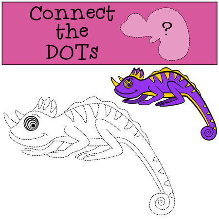 coloring sheets: Educational games for kids: Connect the dots. Little cute chameleon smiles.