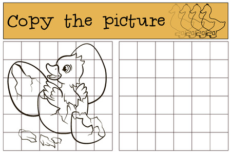 duckling: Children games: Copy the picture. Little cute duckling in the egg. Illustration