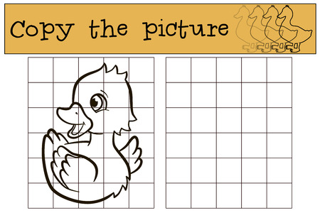 duckling: Children games: Copy the picture. Little cute duckling smiles. Illustration