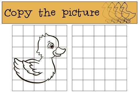 copy: Children games: Copy the picture. Little cute duckling smiles. Illustration