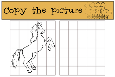 Children games: Copy the picture. Cute horse stands and smiles. Stock Illustratie