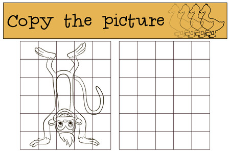 upside: Children games: Copy the picture. Little cute monkey stands upside down.
