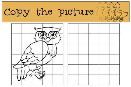 Children games: Copy the picture. Little cute owl.