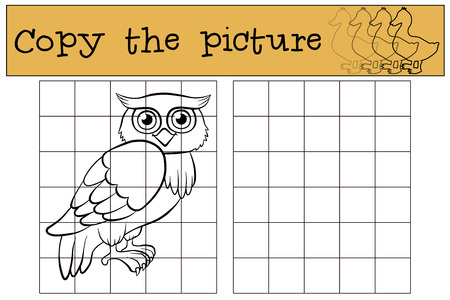 Children games: Copy the picture. Little cute owl.