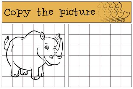 Children games: Copy the picture. Cute rhinoceros smiles.