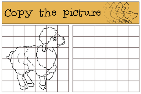 cattle grid: Children games: Copy the picture. Little cute sheep smiles.