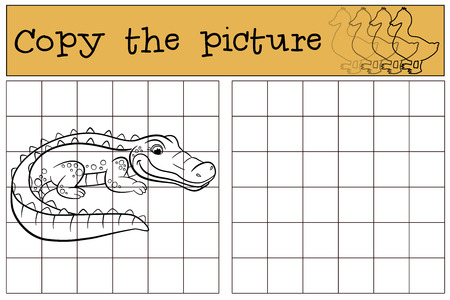 Children games: Copy the picture. Little cute alligator stands and smiles.