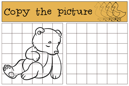 baby bear: Children games: Copy the picture. Little cute baby bear sleeps. He is so sweet.