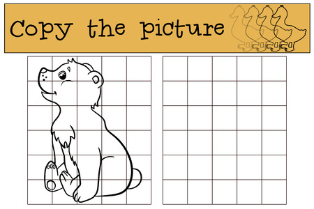 baby bear: Children games: Copy the picture. Little cute baby bear smiles. Illustration