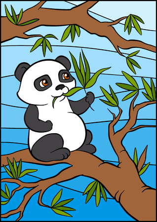 sits: Little cute panda sits on the tree and eats leaves.