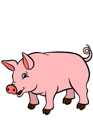 Cartoon farm animals for kids. Little cute pig stands and smiles.