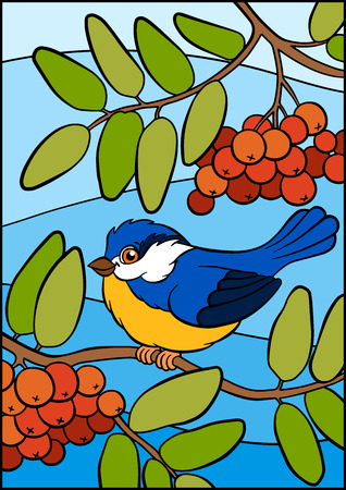 titmouse: Cartoon birds for kids. Little cute titmouse sits on the ash twig and smiles. Illustration