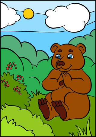 wild grass: Cartoon wild animals for kids. Little cute bear sits on the grass and looks at the berries. Illustration