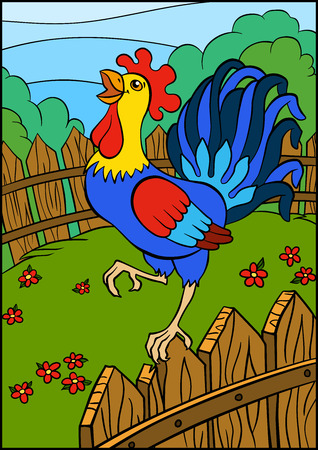 cries: Cartoon birds for kids. Beautiful cute rooster stands on the fence and cries.