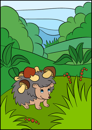 clearing: Color pictures: hedgehoges. Little cute hedgehog stands in the clearing with mushrooms on the needles.