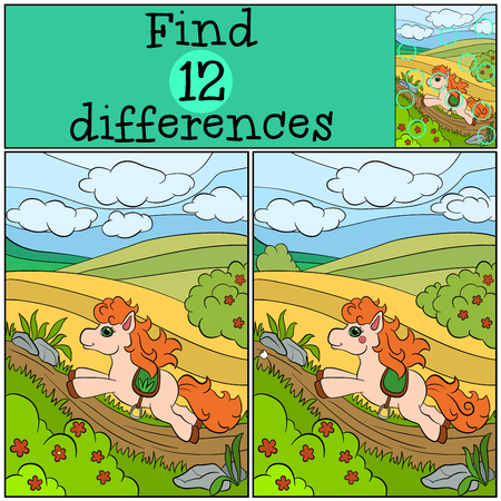 runs: Children games: Find differences. Little cute pony runs and smiles. Illustration