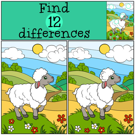 Children games: Find differences. Cute little sheep stands on the grass hill and smiles.