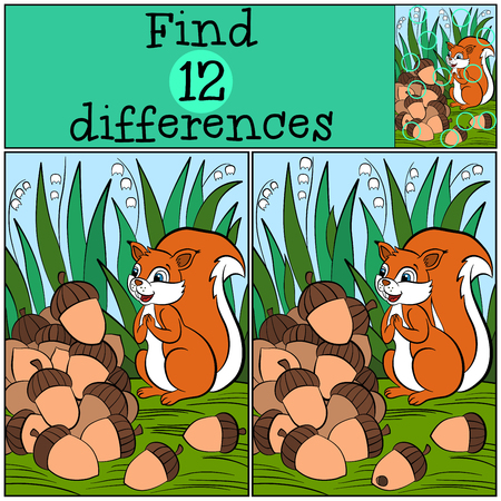 amuse: Children games: Find differences. Little cute squirrel stands on the stamp grass and looks at the pile of the acrons.