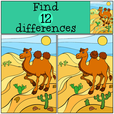 seeking solution: Children games: Find differences. Cute camel stands on the send in the desert and smiles.