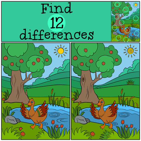 children pond: Children games: Find differences. Little cute duck runs from the pond and waves her wings. She is happy. Illustration
