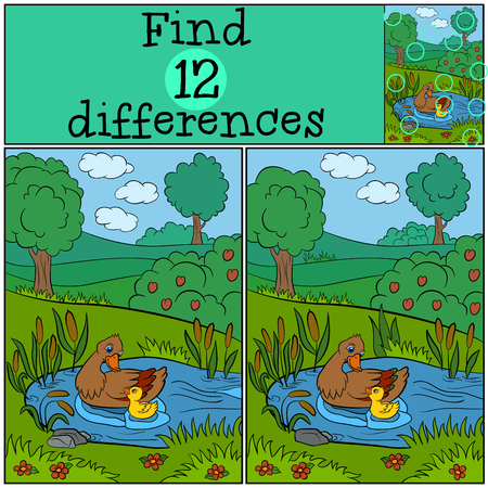 ducklings: Children games: Find differences. Duck and cute  ducklings on the lake. Illustration
