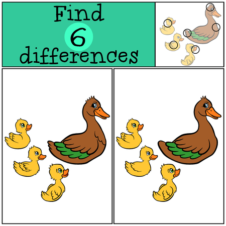 ducklings: Children games: Find differences. Duck and three ducklings swims. Illustration