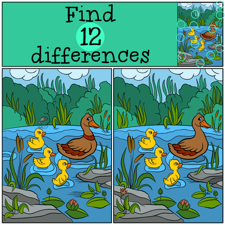 ducklings: Children games: Find differences. Duck and ducklings on the lake.