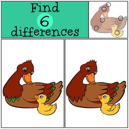 duckling: Children games: Find differences. Mother duck with little cute duckling. Illustration