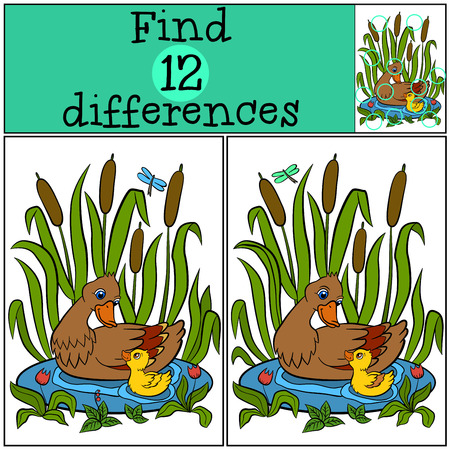 love pic: Children games: Find differences. Mother duck swims on the pond with her little cute duckling and smiles.