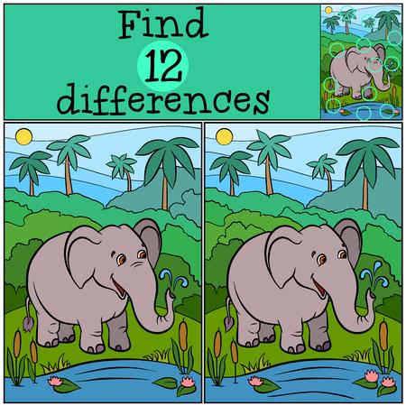 Jeux d'enfants: trouver des différences. éléphant type mignon se tient près du lac et des sourires.