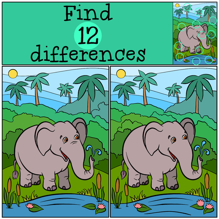 Children games: Find differences. Cute kind elephant stands near lake and smiles.