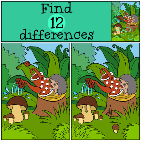 water's: Children games: Find differences. Little cute hedgehog stands on the stump and waters the mushrooms.