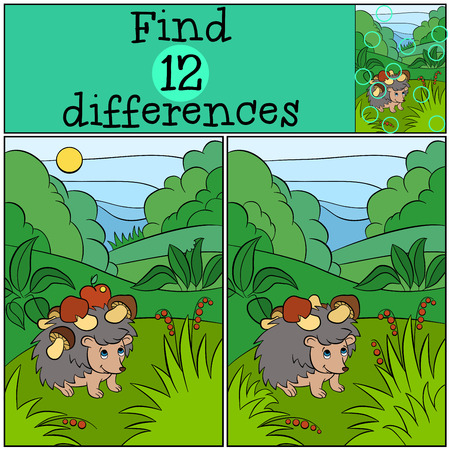 clearing: Children games: Find differences. Little cute hedgehog stands in the clearing with mushrooms on the needles. Illustration