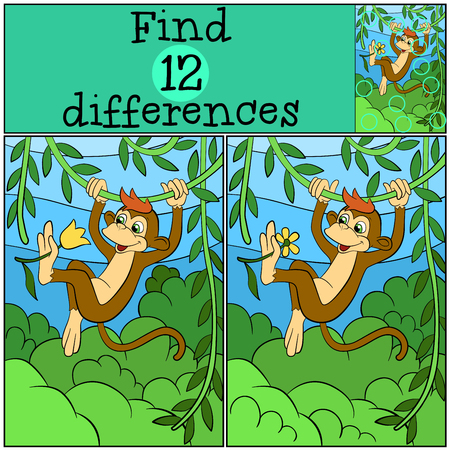liana: Children games: Find differences. Little cute monkey hangs on the liana and holds a flower.