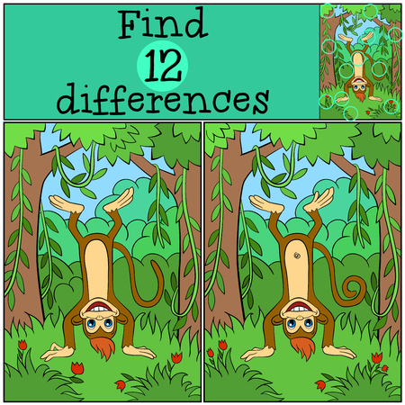 upside: Children games: Find differences. Little cute monkey stands upside down and smiles.