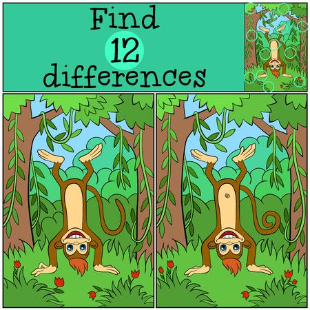 Giochi per bambini: trovare le differenze. Piccola scimmia carino si erge a testa in giù e sorride. Vettoriali