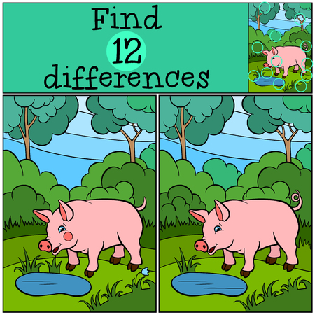 find: Children games: Find differences. Little cute pig stands in the forest near the pond and smiles. Illustration