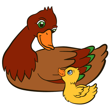 duckling: Cartoon birds for kids. Mother duck with her little cute duckling. They smile. Illustration