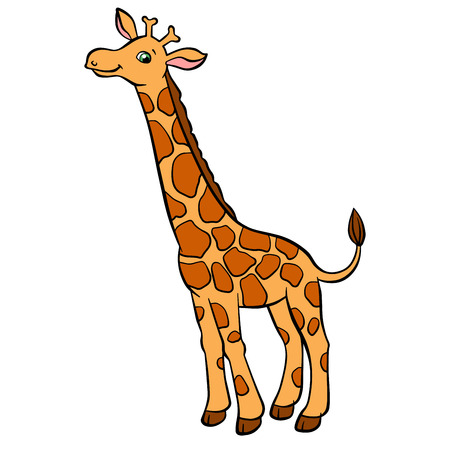 long neck: Cartoon wild animals for kids. Little cute spotted giraffe with long neck stands and smiles. He is happy.