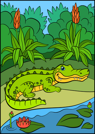 caiman: Cartoon animals for kids. Little cute alligator stands near the lake and smiles. Illustration