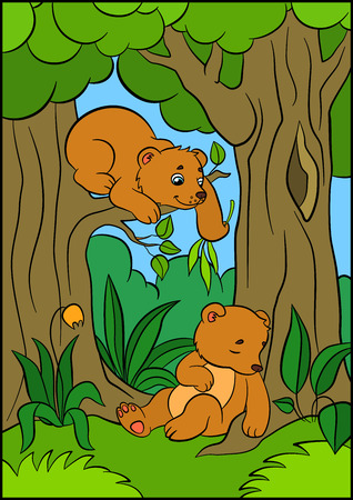 two animals: Cartoon animals for kids. Two little cute baby bears in the forest.