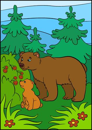 ourson: animaux de bande dessinée pour les enfants. Papa ours avec son petit ours mignon bébé regarde la framboise.