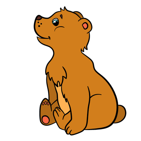 baby bear: Cartoon animals for kids. Little cute baby bear sits and smiles.