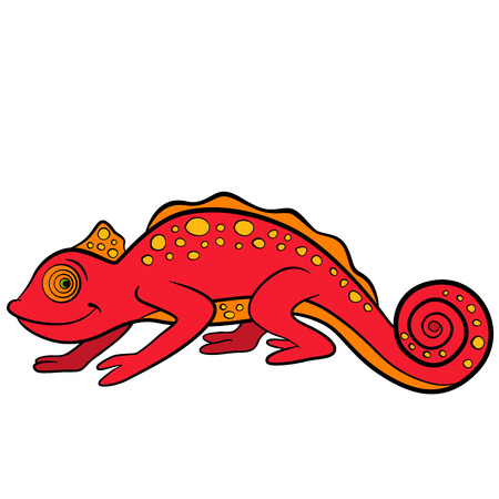 Cartoon animals for kids. Little cute red chameleon smiles.
