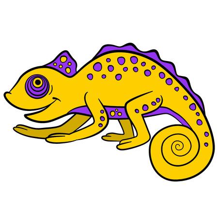 Cartoon animals for kids. Little cute yellon chameleon smiles.