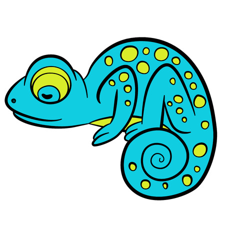mimicry: Cartoon animals for kids. Little cute blue chameleon sleeps.