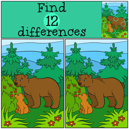 Children games: Find differences. Daddy bear with his little cute baby bear looks at the raspberry in the forest.