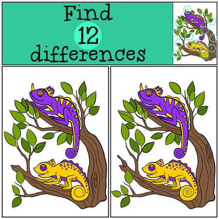 chameleons: Children games: Find differences. Two little cute chameleons sits on the tree branch and smiles.