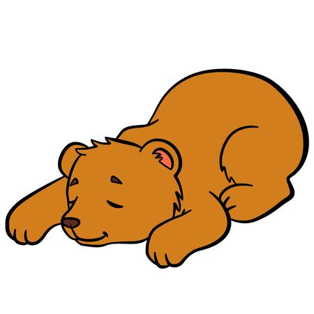 sleeps: Cartoon animals for kids. Little cute baby bear sleeps. Illustration