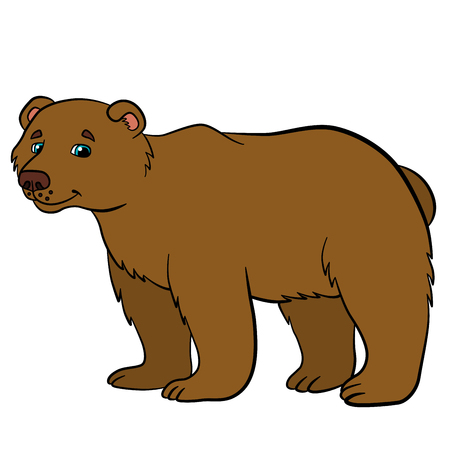 cherish: Cartoon animals for kids. Cute brown bear stands and smiles. Illustration